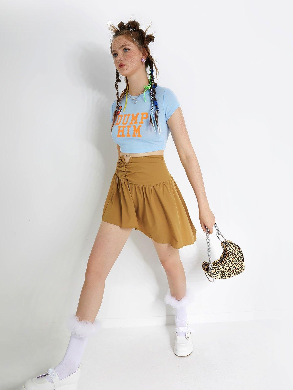 Irregular Pleated Mini Skirt - Khaki M