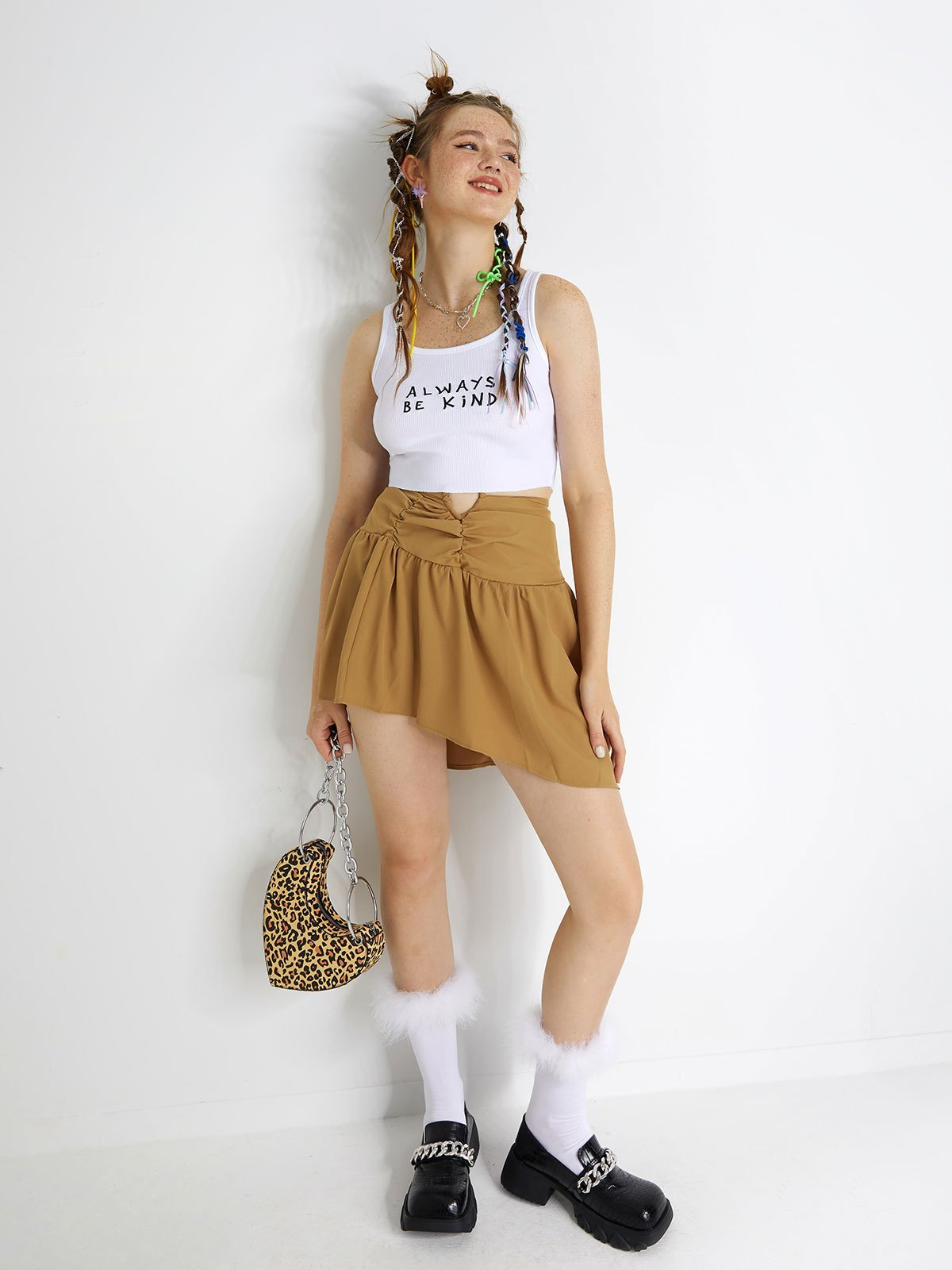 Letter Graphic Crop Tank Top - White L