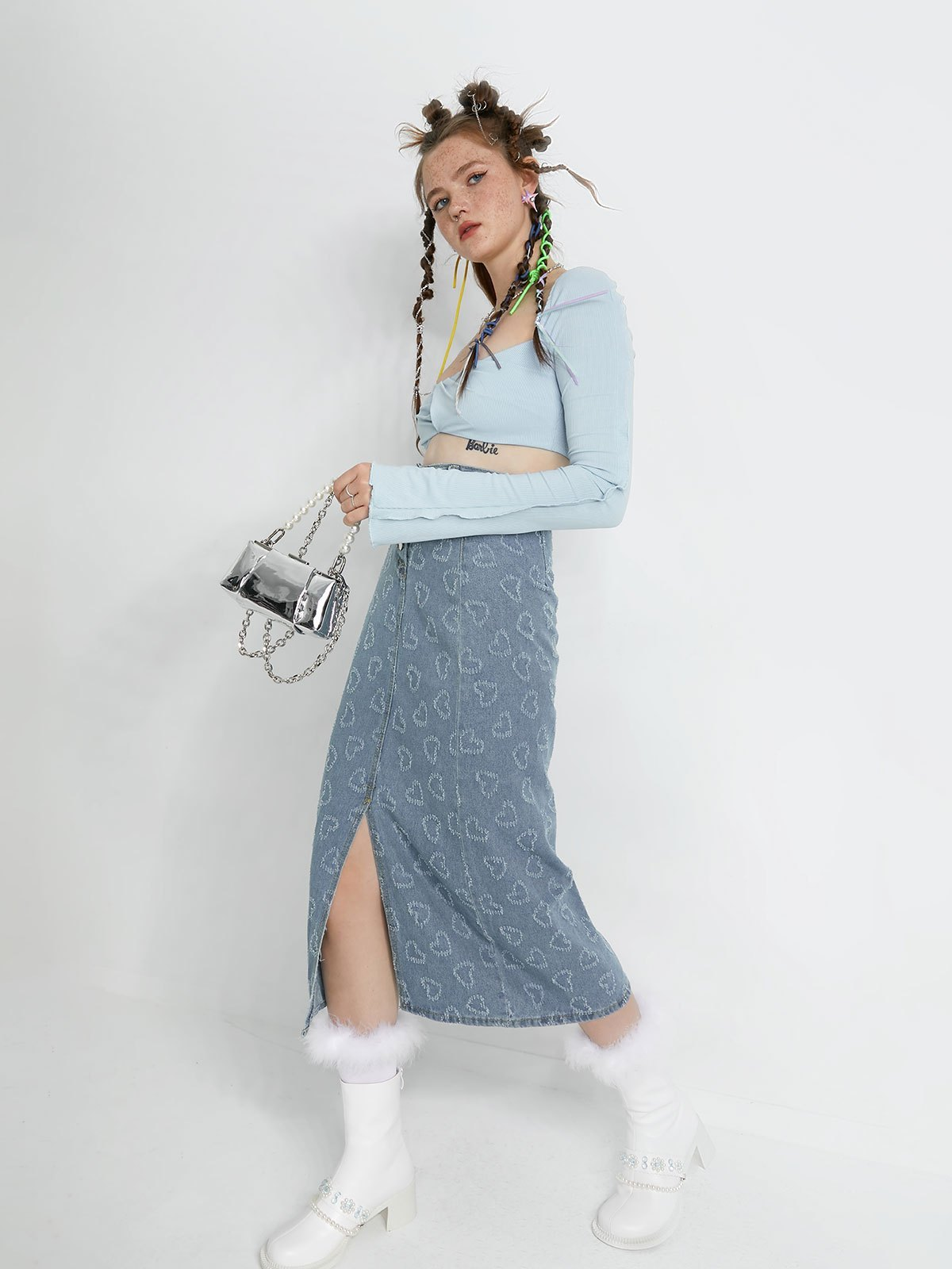 Frill Trim Long Sleeve Rib Crop Top - Blue S