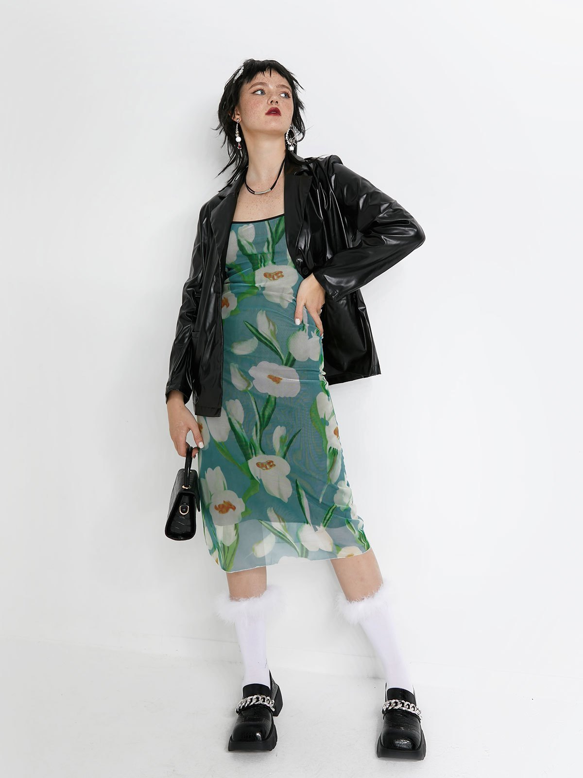 Mesh Smudged Floral Sling Midi Dress - As The Picture S
