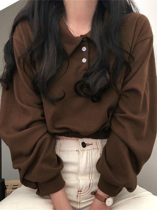 Polo Neck Buttoned Crop Sweatshirt - Brown S