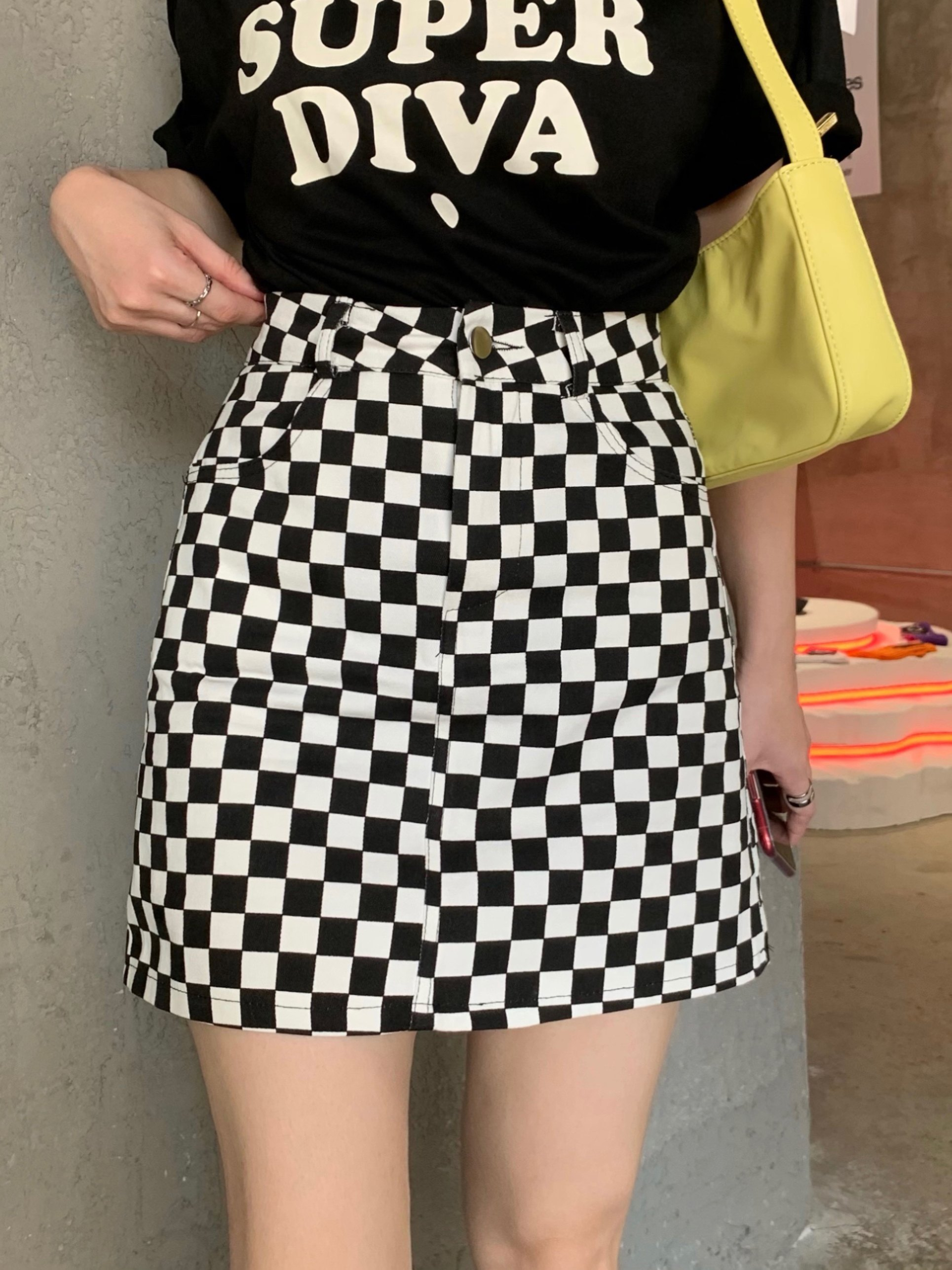 Checkered High Waist  Skirt - Black S