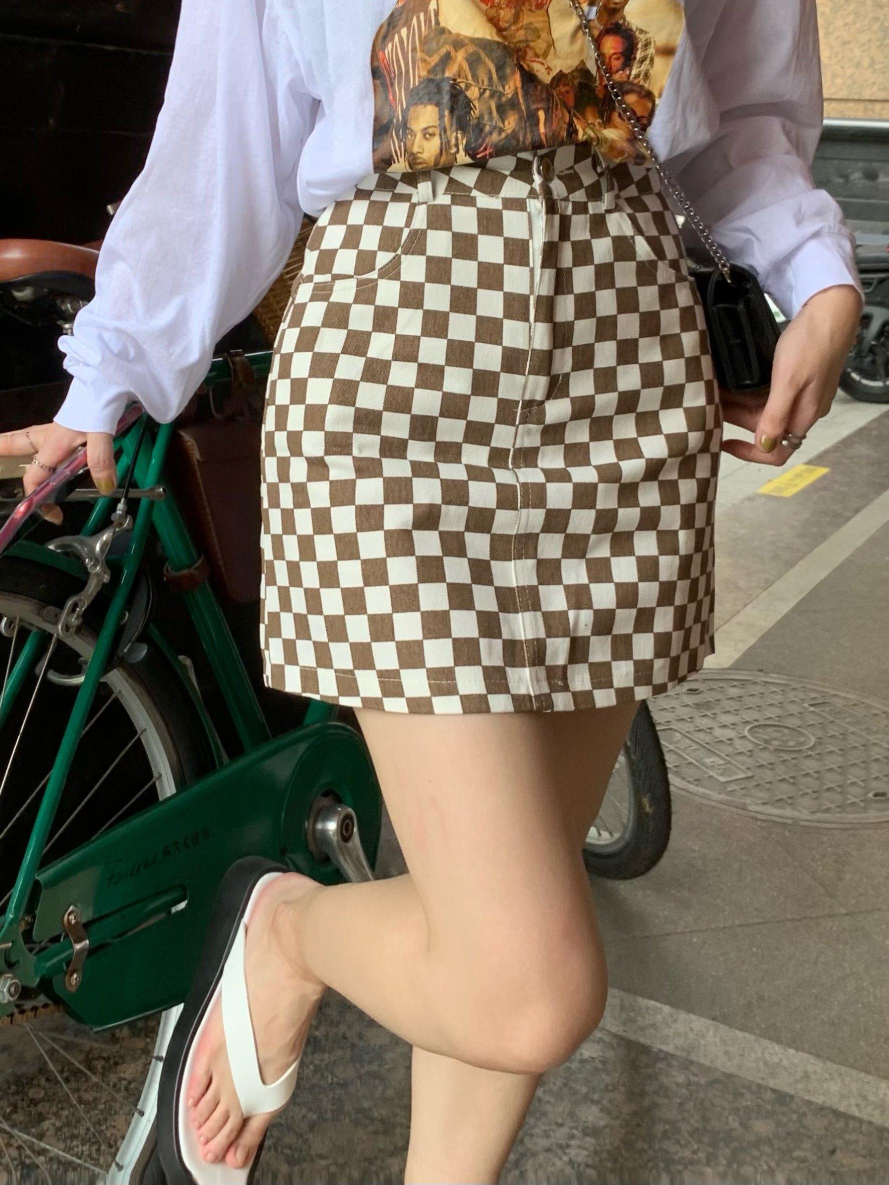 Checkered High Waist  Skirt - Apricot S