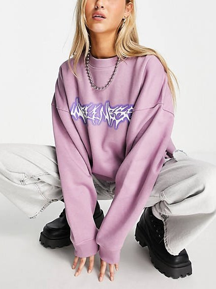 Letter Graphic Drop Shoulder Sweatshirt - Pink L
