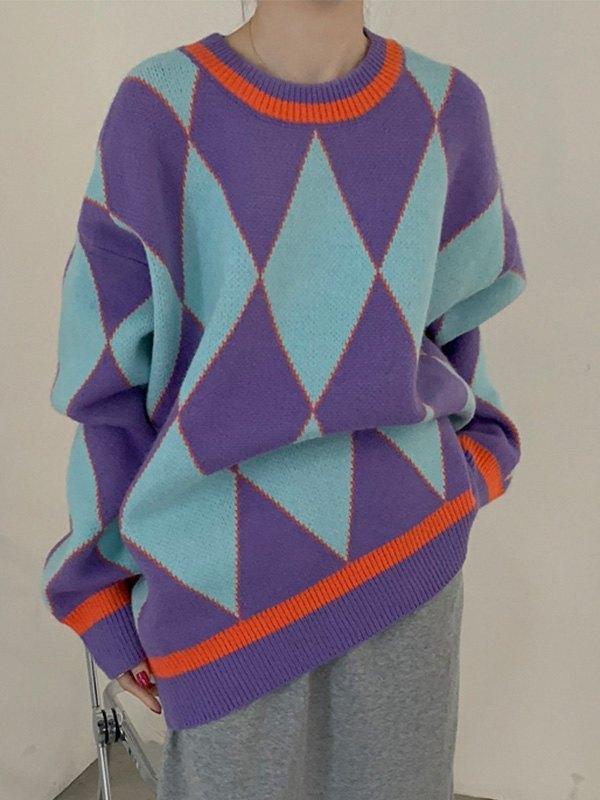 Oversized Geometric Knit Sweater - Blue ONE SIZE