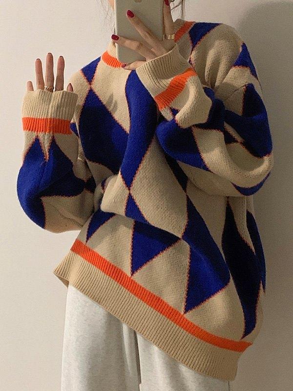 Oversized Geometric Knit Sweater - Navy Blue ONE SIZE