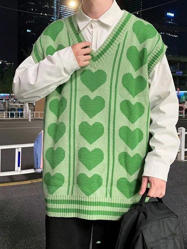 V Neck Heart Pattern Sweater Vest - Green M