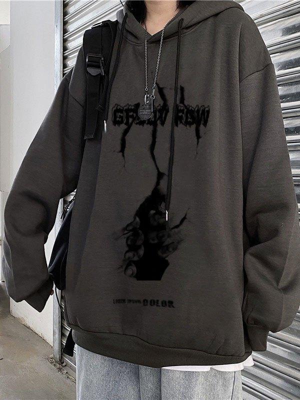 Wall Escape Printed Hoodie - Dark Gray L