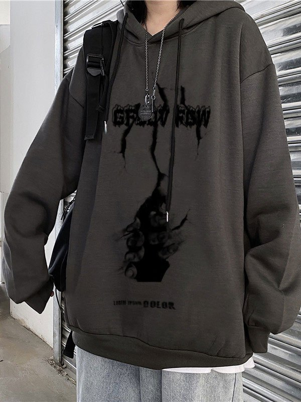 Wall Escape Printed Hoodie - Dark Gray M