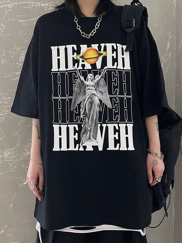 Heaven Graphic Short Sleeve Tee - Black M