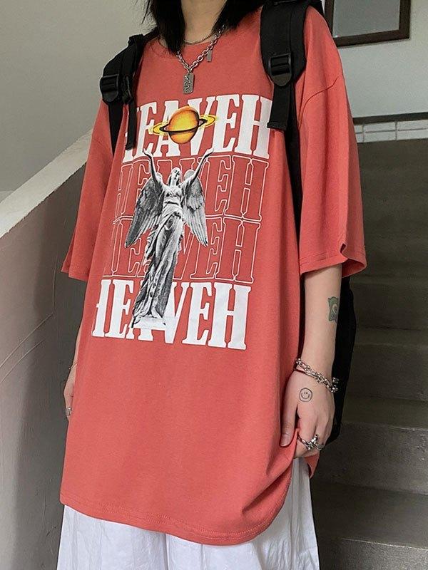 Heaven Graphic Short Sleeve Tee - Orange L