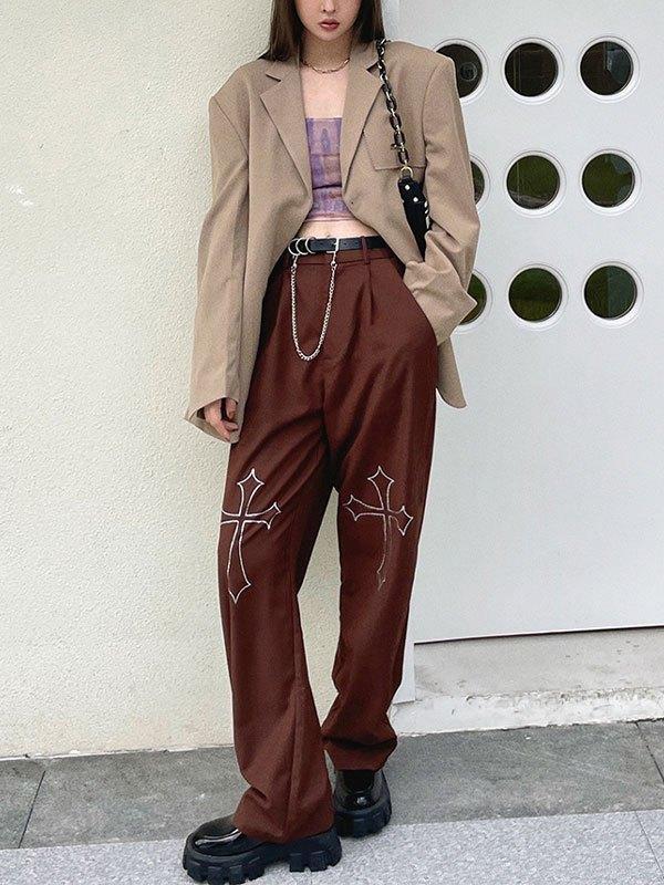 Cross Rhinestone Straight Leg Pants - Brown XL