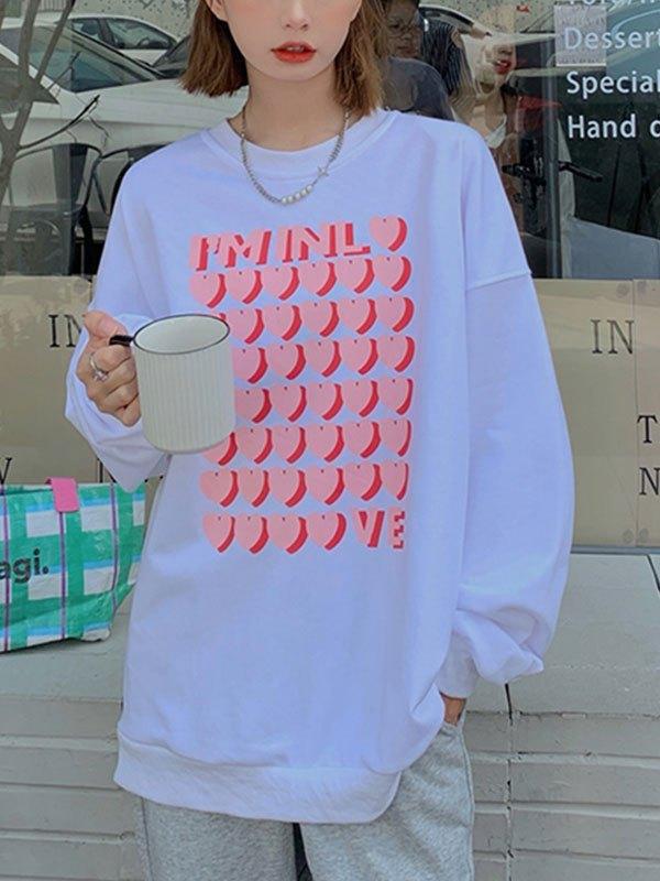 Simple Love Printed Oversize Sweatshirt - White ONE SIZE