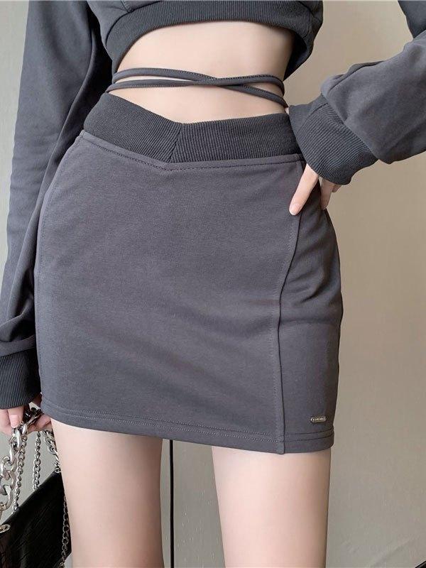 Lace Up Mini Skirt - Gray S