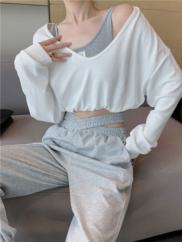 Oversized Long Sleeve Crop Top - White M