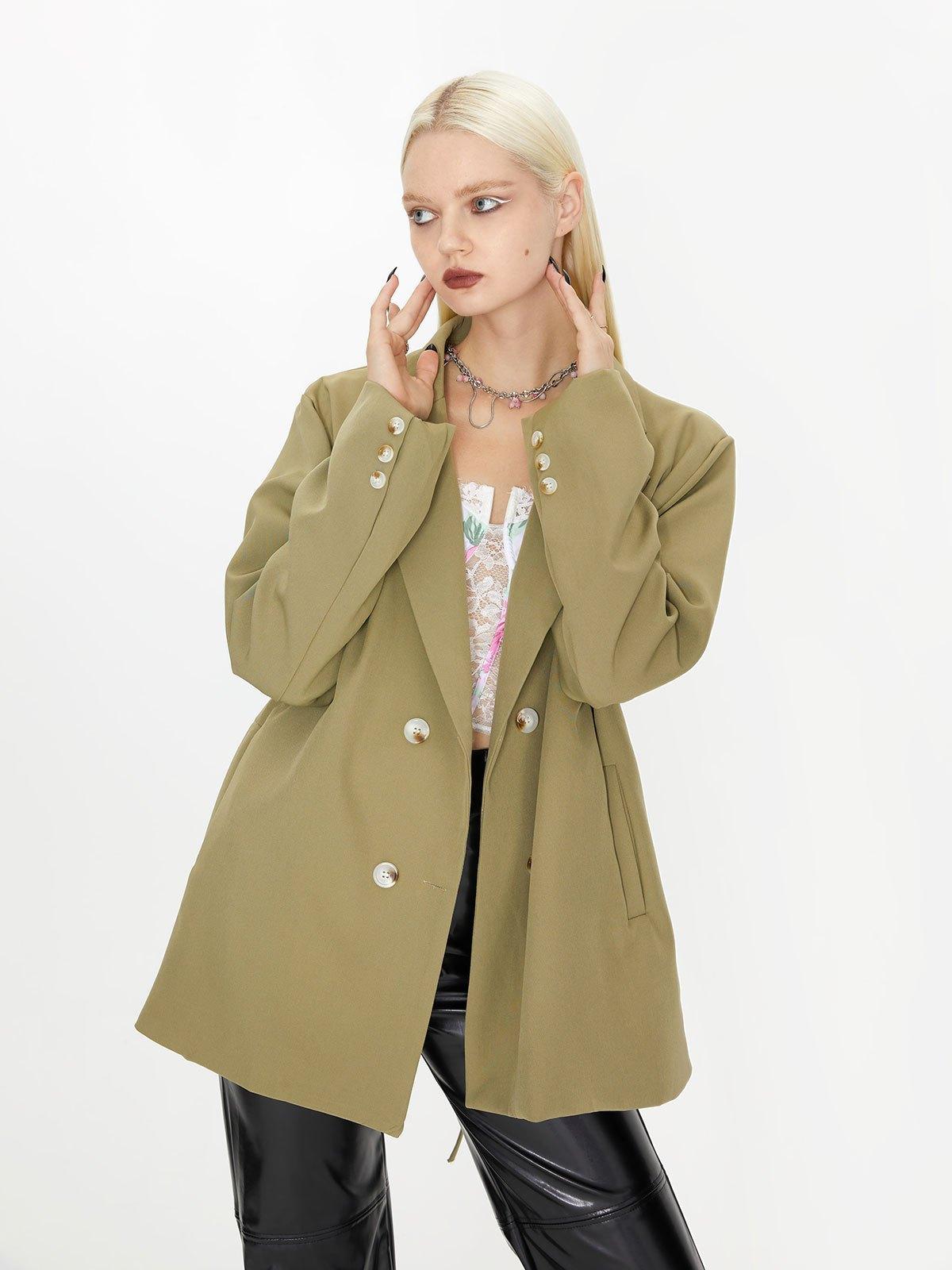 Cutout Lace Up Blazer - Green S