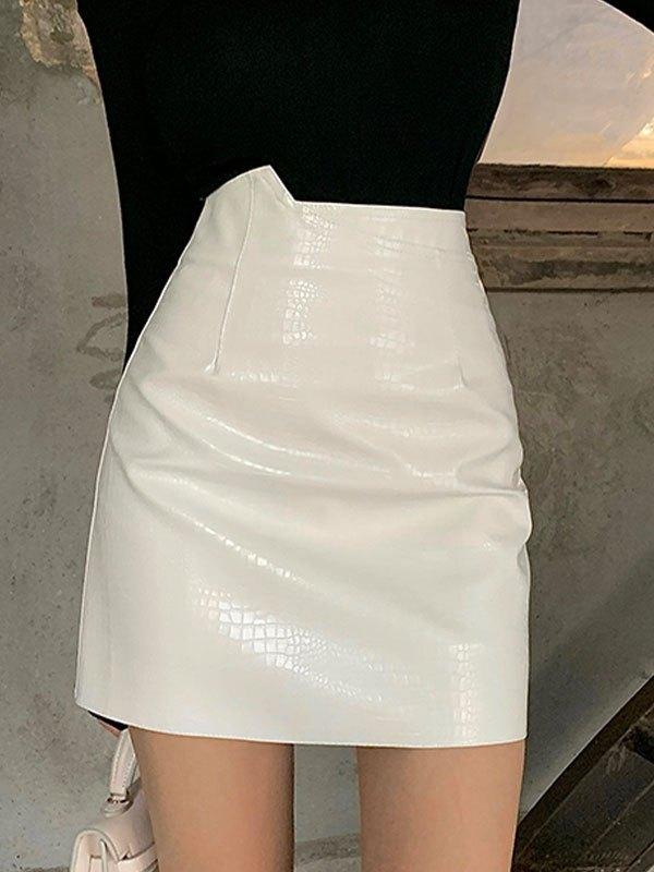 Asymmetric Pu Leather Mini Skirt - White M