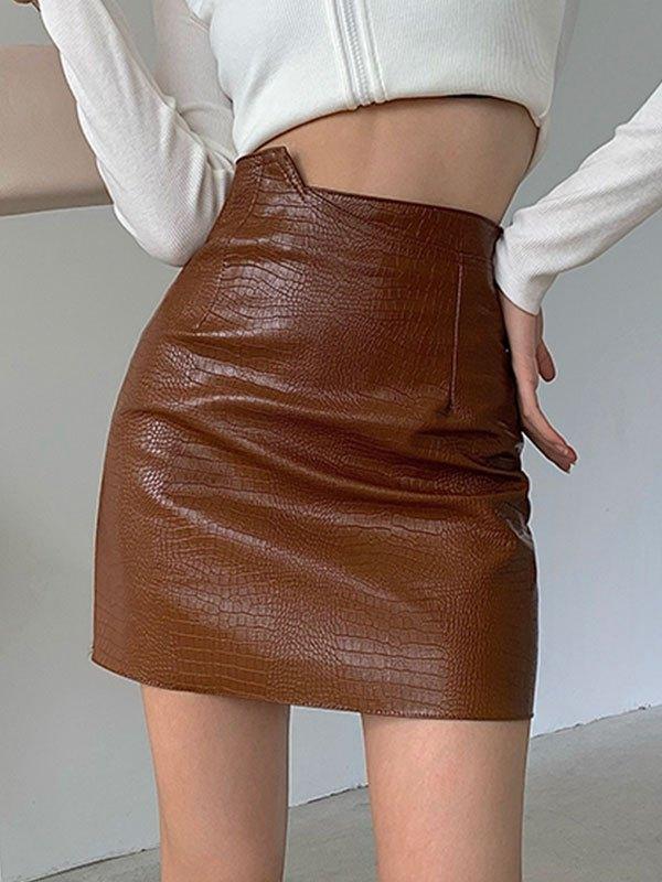 Asymmetric Pu Leather Mini Skirt - Khaki L