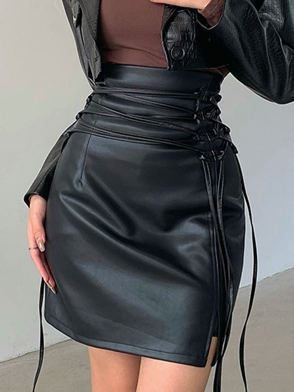 Lace Up Split Pu Leather Mini Skirt - Black S