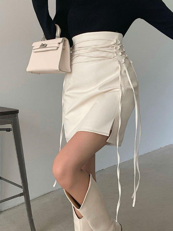 Lace Up Split Pu Leather Mini Skirt - White L