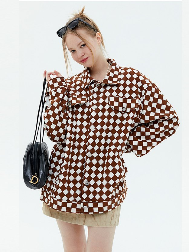 Vintage Oversized Checkered Jacket - Brown L