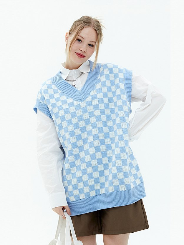 Oversized Checkered Sweater Vest - Blue L
