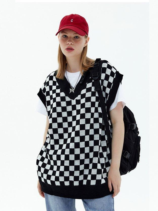 Oversized Checkered Sweater Vest - Black L