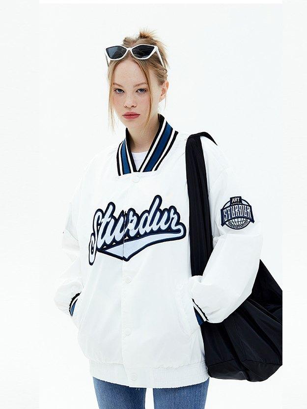 Oversized Letter Embroidery Varsity Jacket - White L