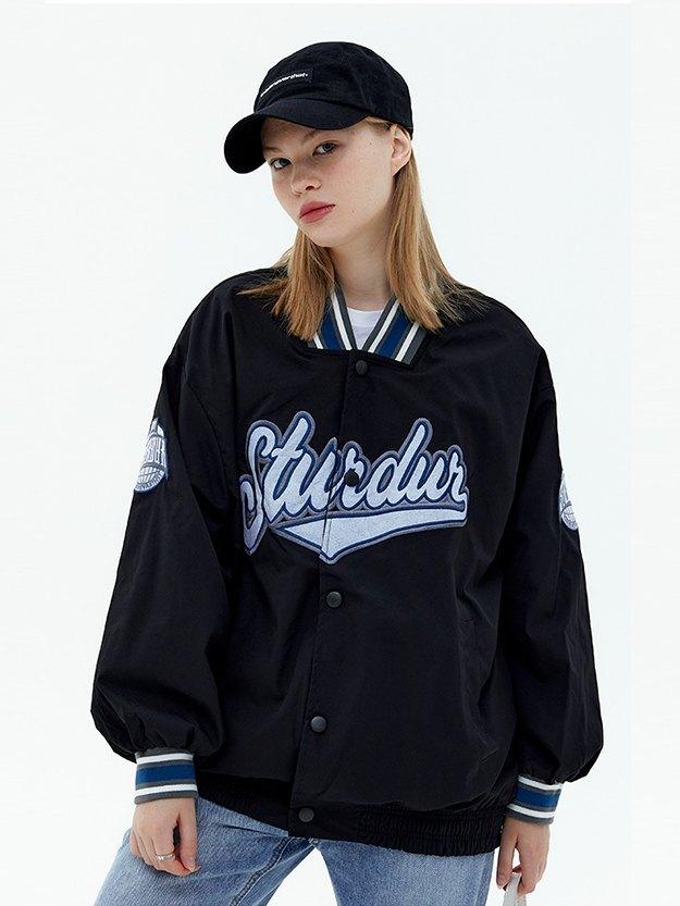Oversized Letter Embroidery Varsity Jacket - Black M
