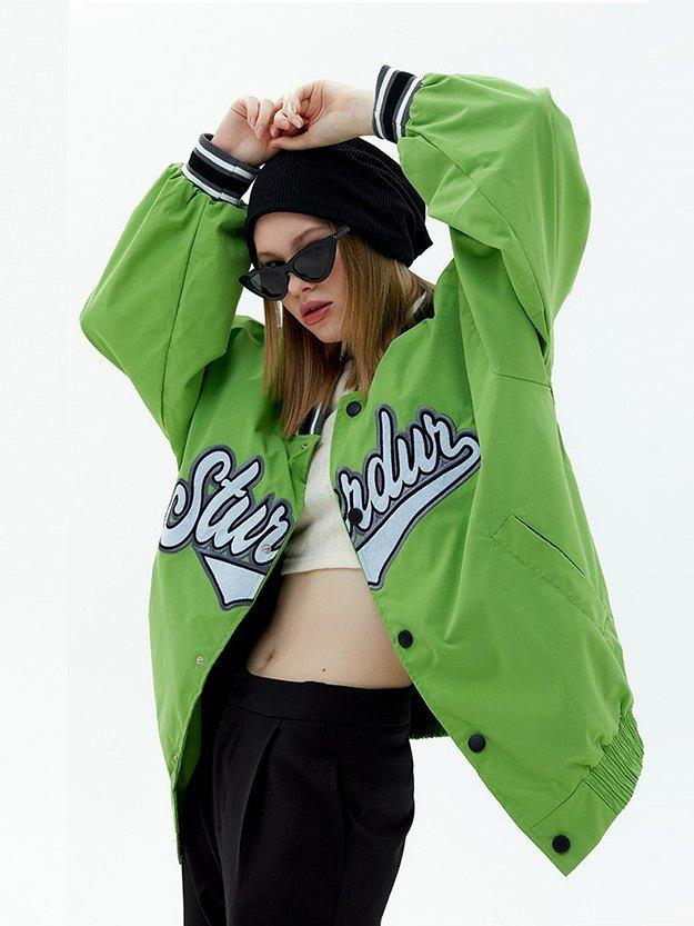 Oversized Letter Embroidery Varsity Jacket - Green XL