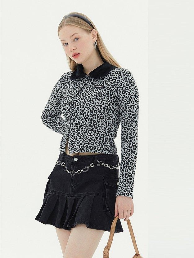Leopard Print Crop Jacket - Grey M