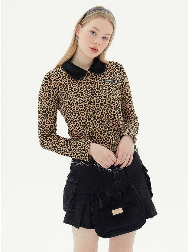 Leopard Print Crop Jacket - Yellow S