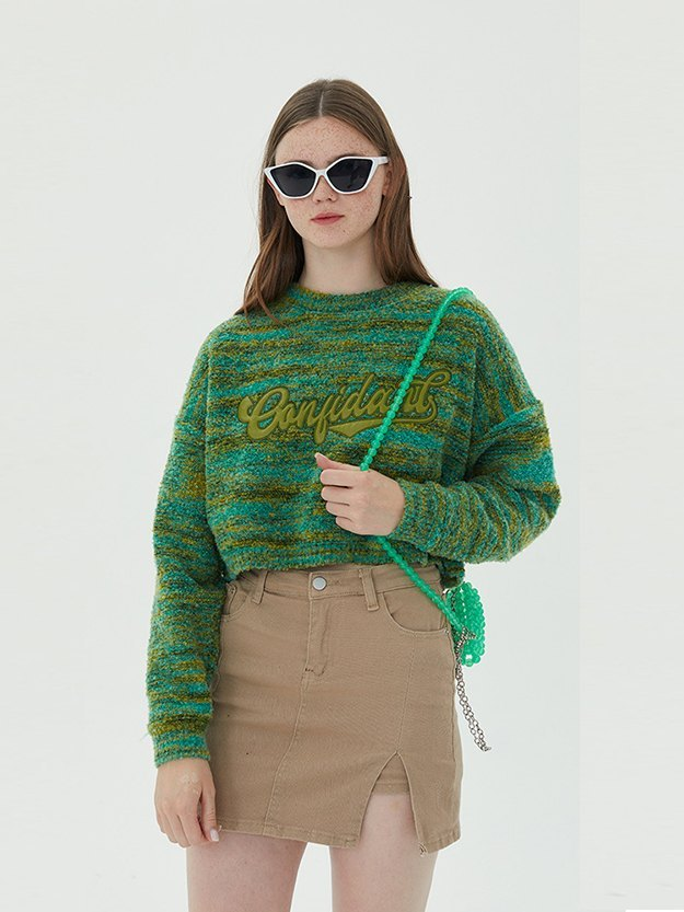 Logo Graphic Crop Knit Sweater - Green S