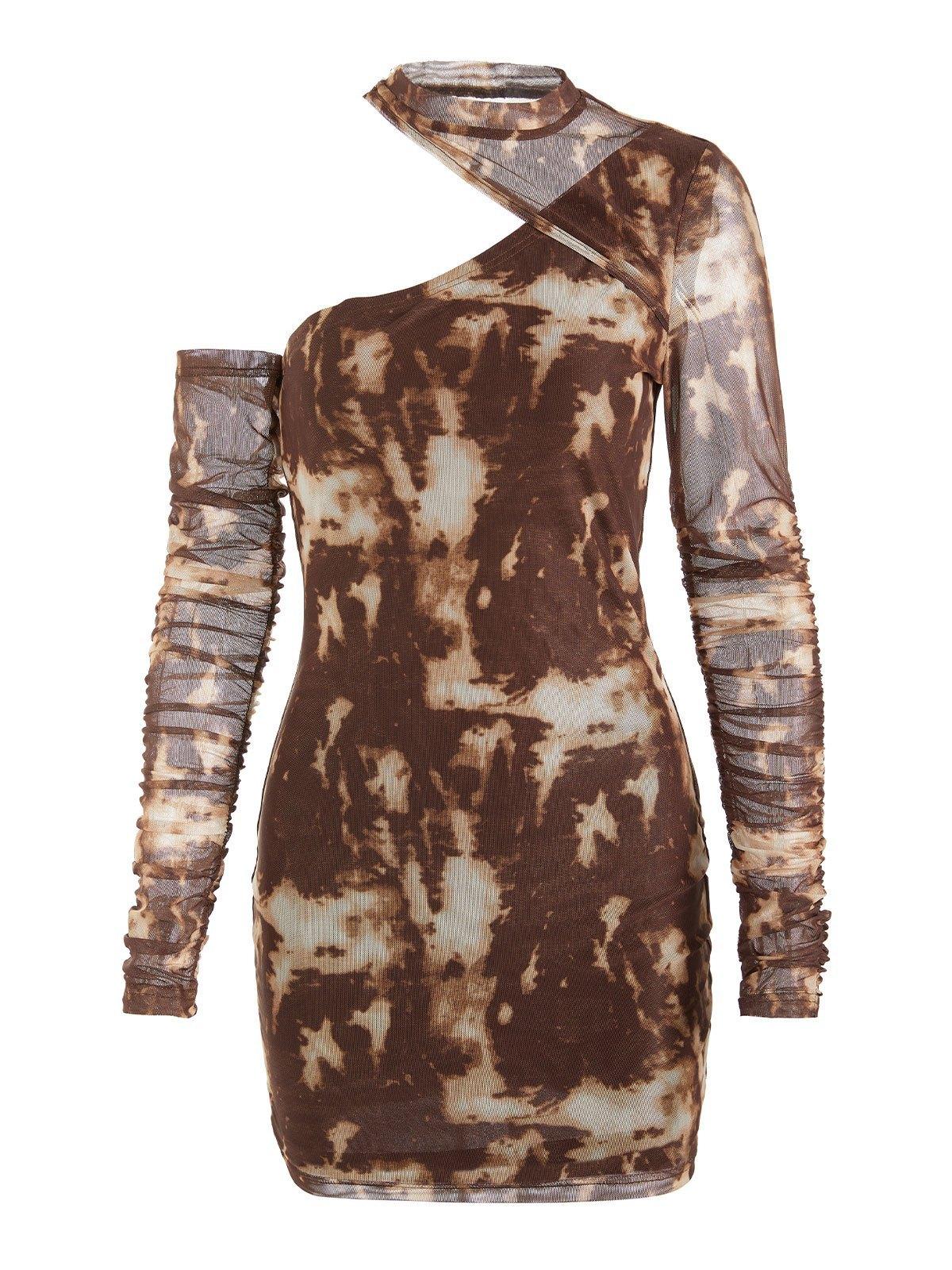 EMMIOL Cutout Tie Dye Long Sleeve Midi Dress - Brown L