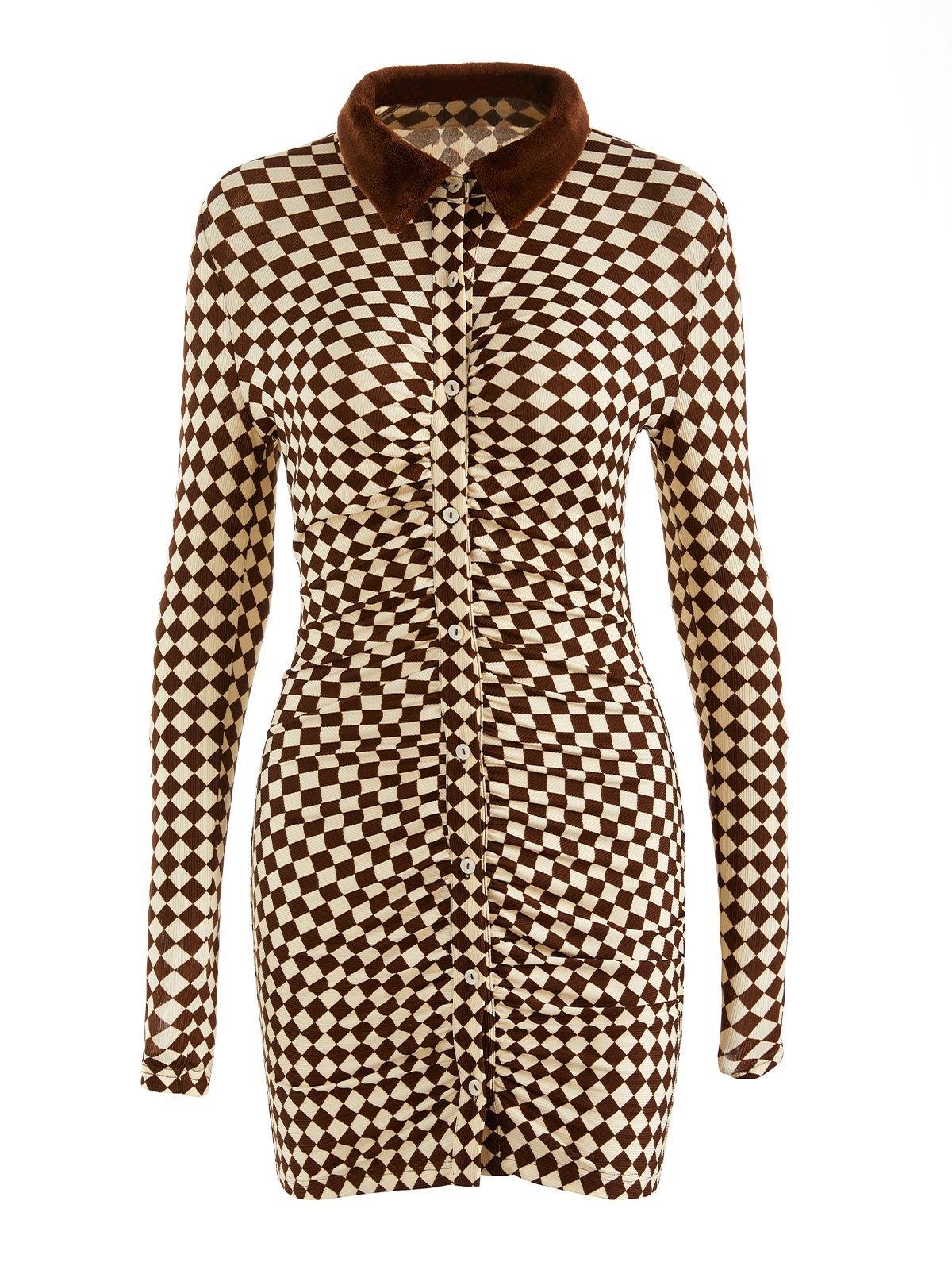 EMMIOL Polo Neck Checkered Long Sleeve Midi Dress - Brown L