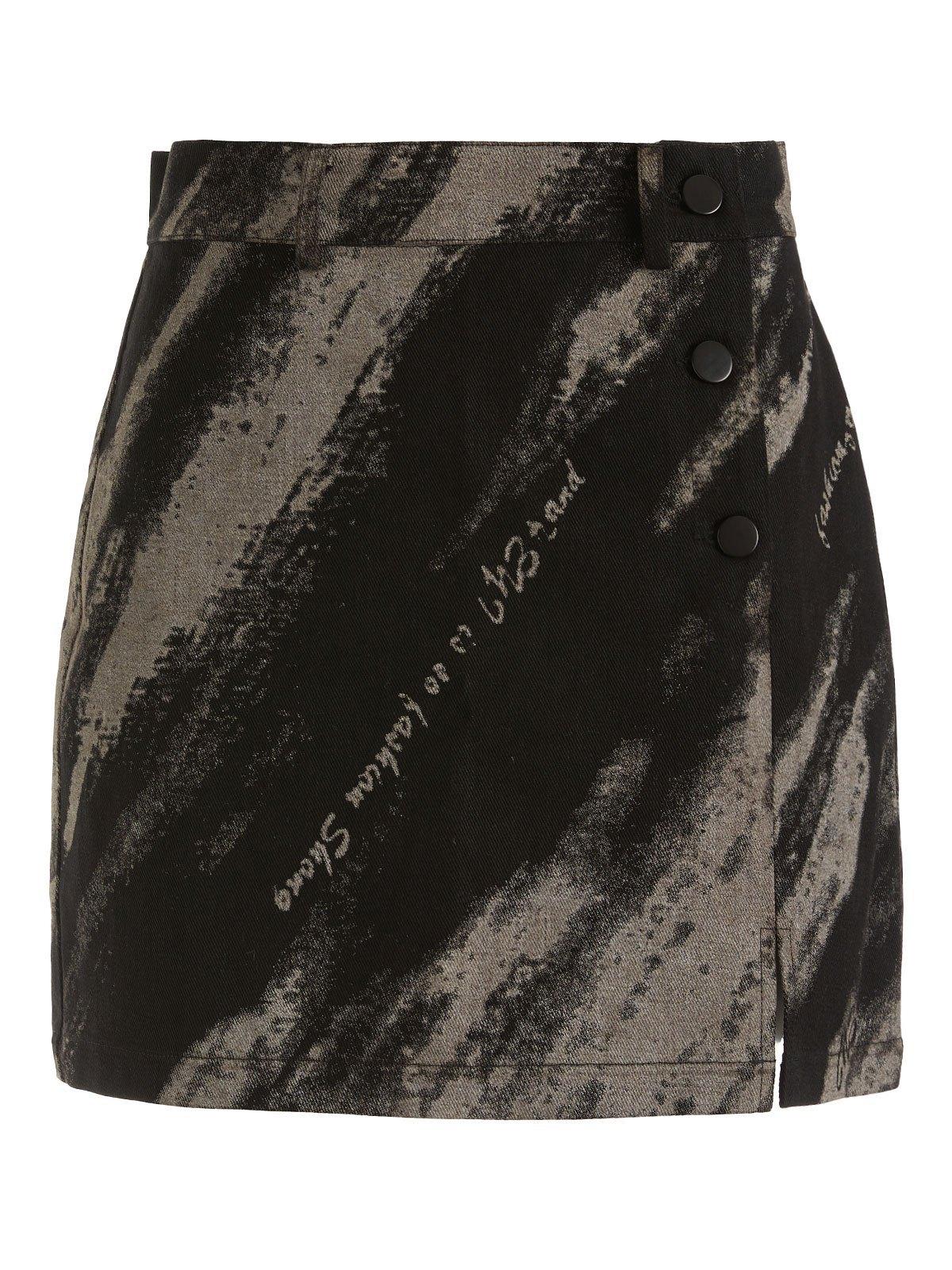 EMMIOL Tie Dye Buttoned Mini Skirt - Black M