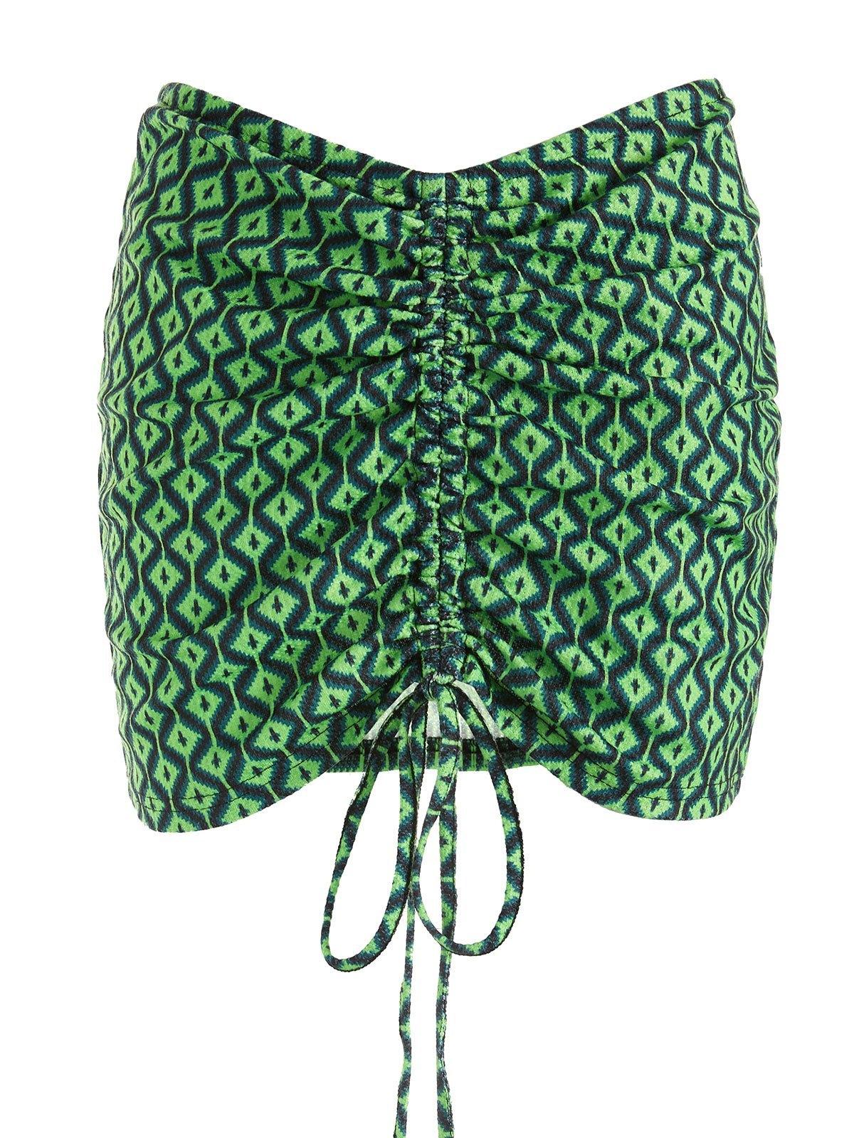 EMMIOL Tie Front Printed Mini Skirt - Green S