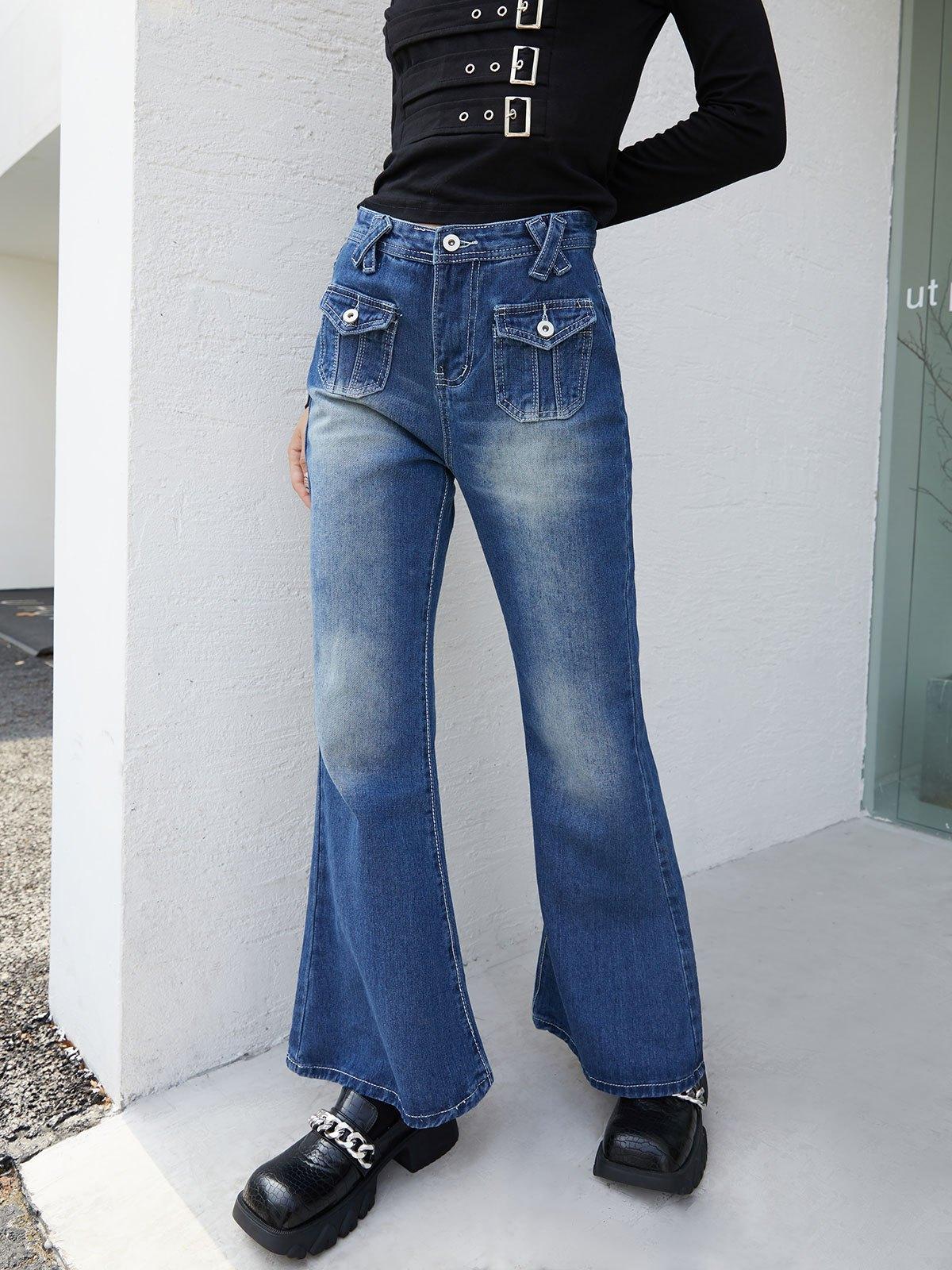 Vintage Low Waist Cargo Jeans - Blue S