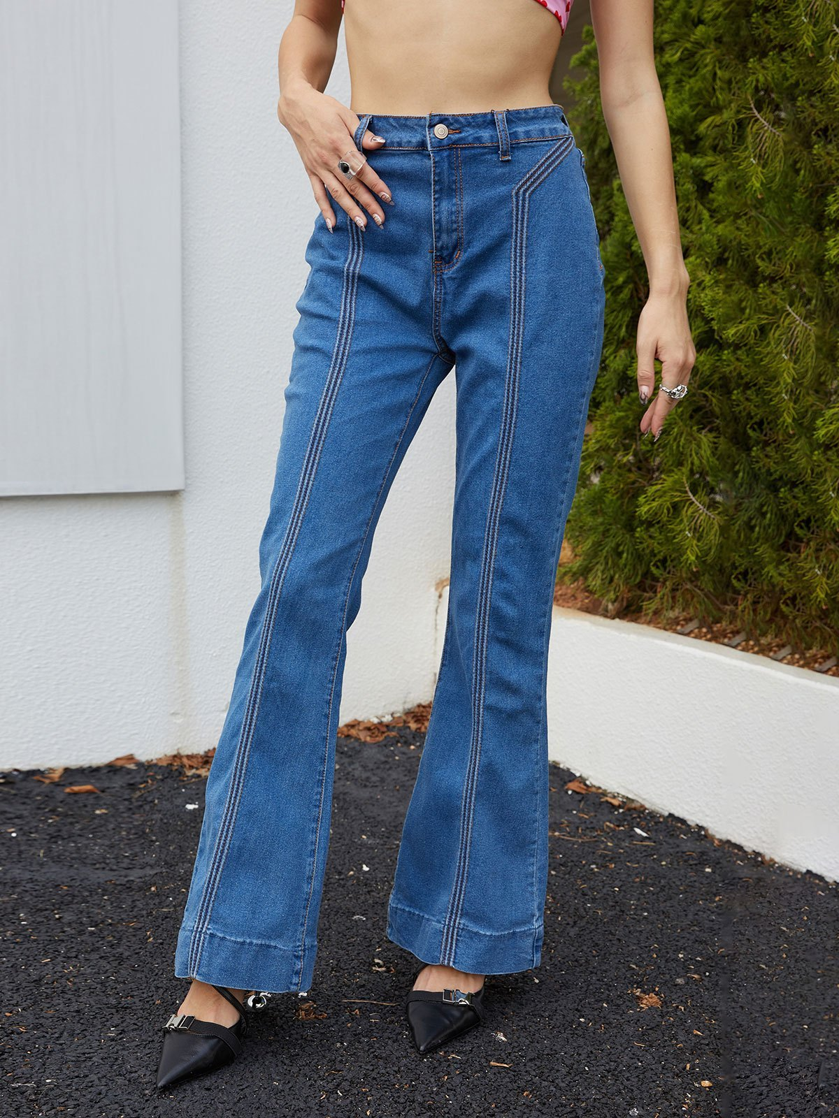 Vintage High Rise Flare Jeans - Blue S