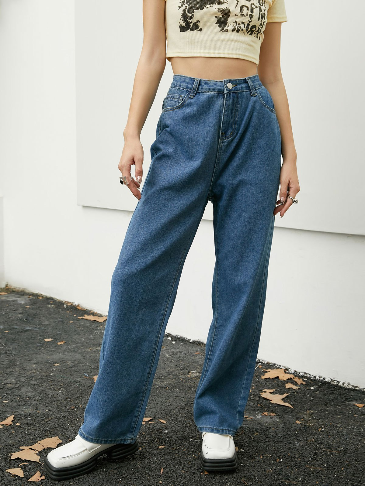 Classic Low Waist Boyfriend Jeans - Blue S