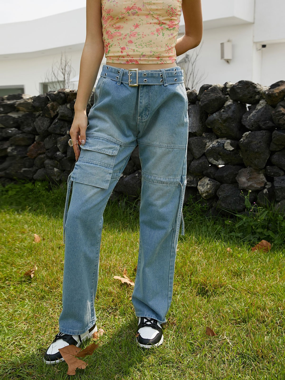 Mid Waist Belted Cargo Jeans - Blue S