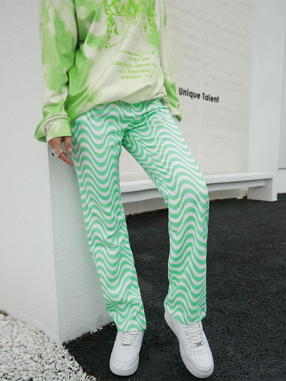 Swirl High Waisted Boyfriend Jeans - Green S