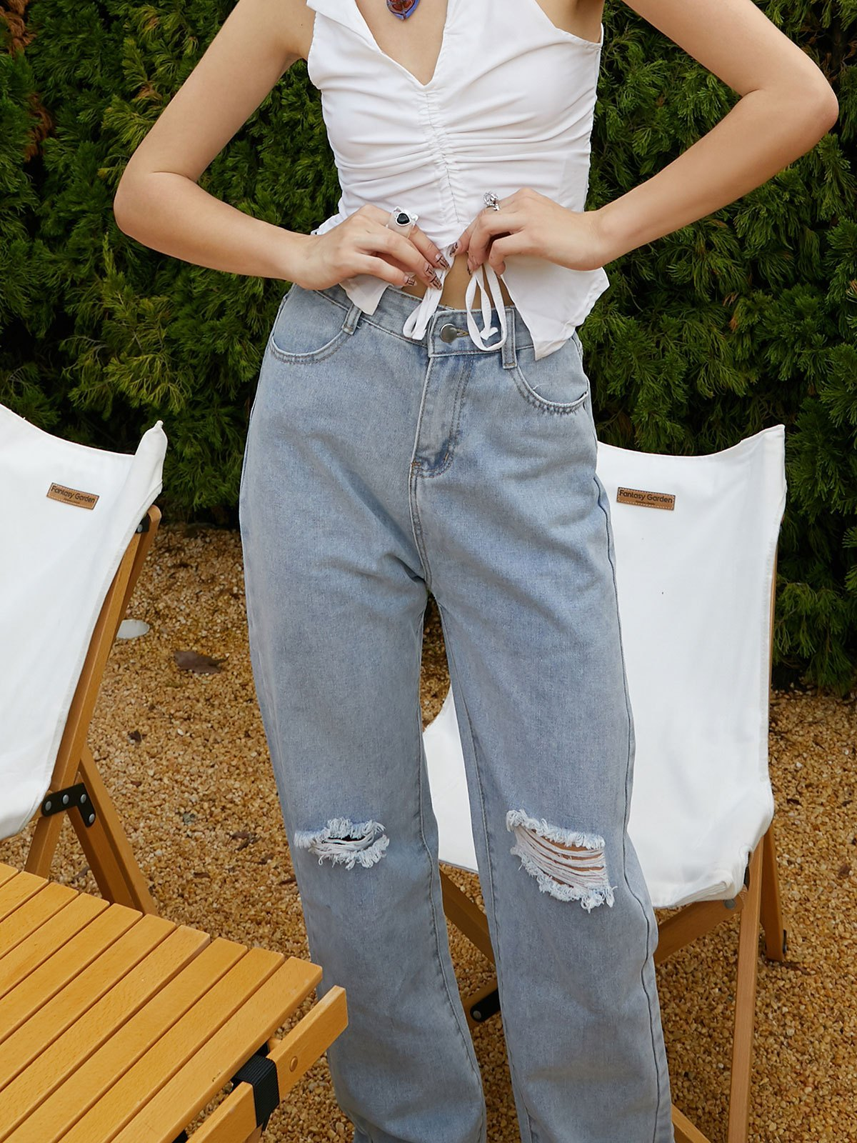 Washed Straight Leg Ripped Jeans - Blue S