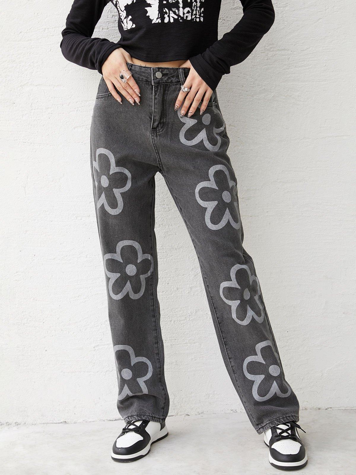 Washed Flower Print Boyfriend Jeans - Gray S