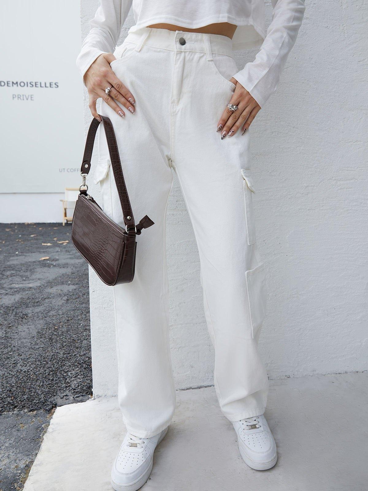 Flap Pocket Washed Cargo Jeans - White S