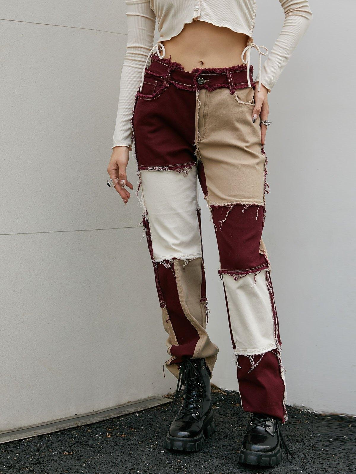 Patchwork Denim Boyfriend Jeans - Brown S