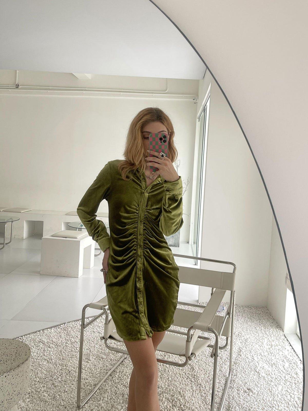 Velvet Ruched Shirt Mini Dress - Green S