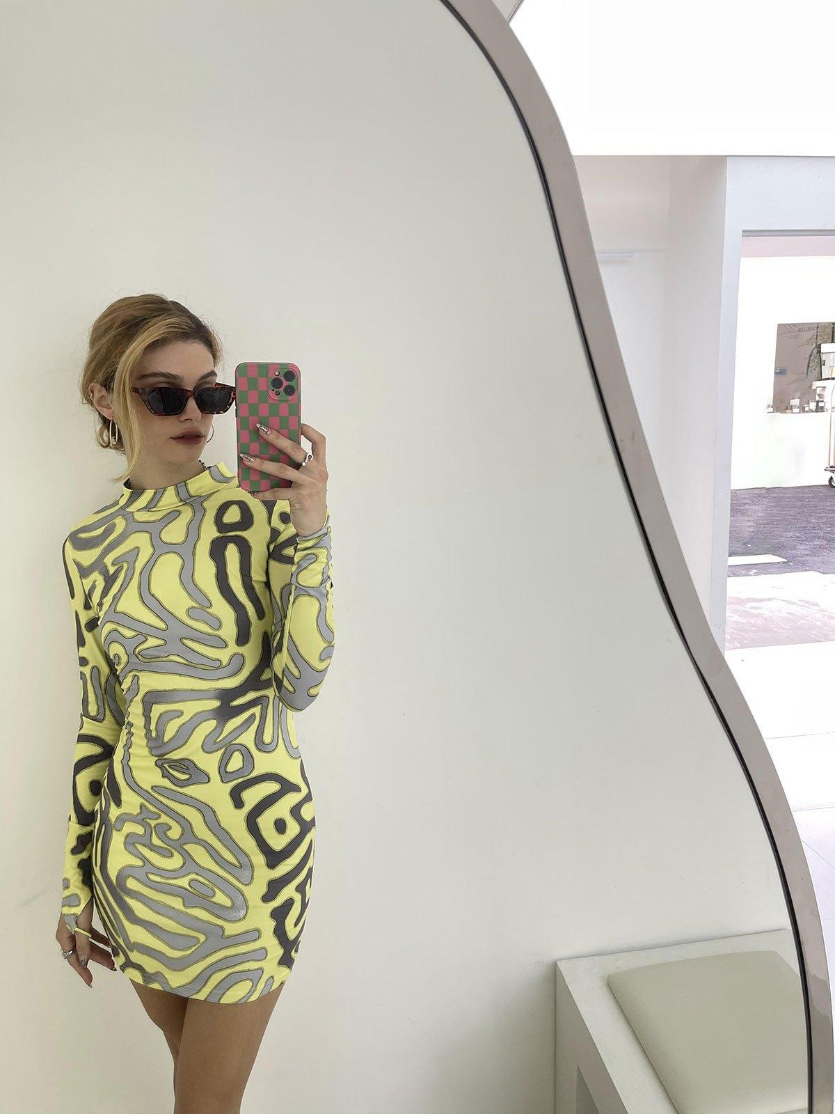 Printed Long Sleeve Mini Dress - Yellow S