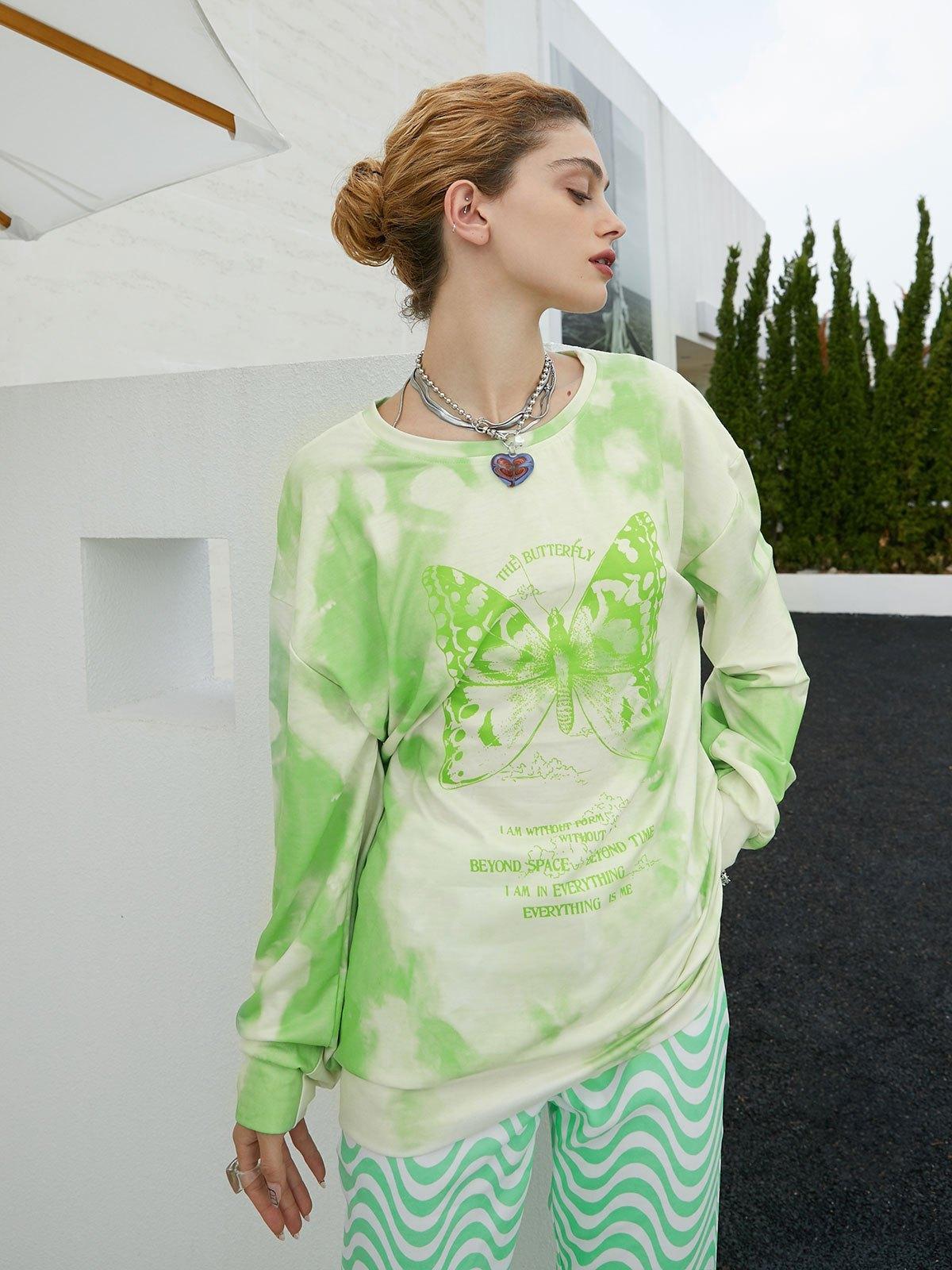 Tie Dye Butterfly Print Sweatshirt - Green S