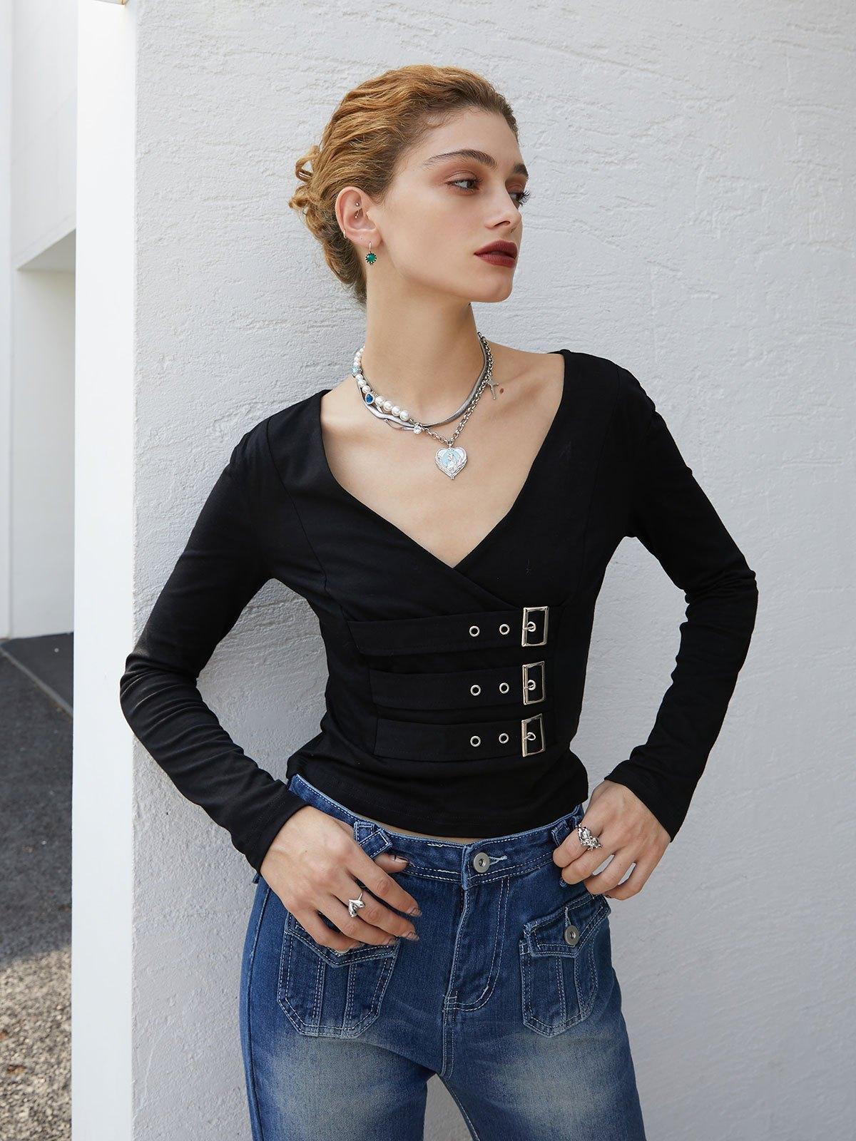 Buckle Strap Long Sleeve Crop Top - Black S